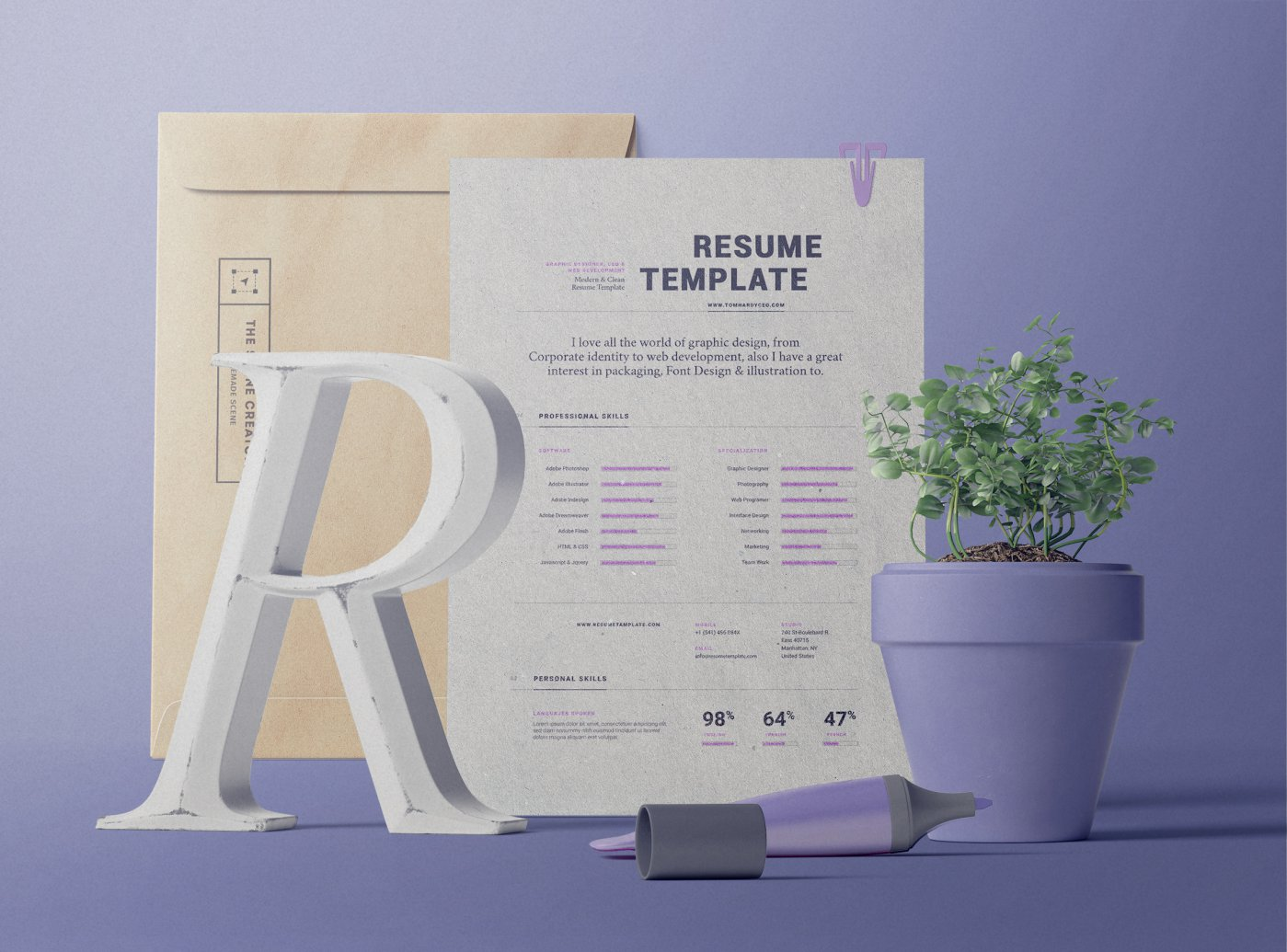 Free The Scene Creator Mockup | Resume, Envelope, Paper, Plants, Pen Frontview PSD