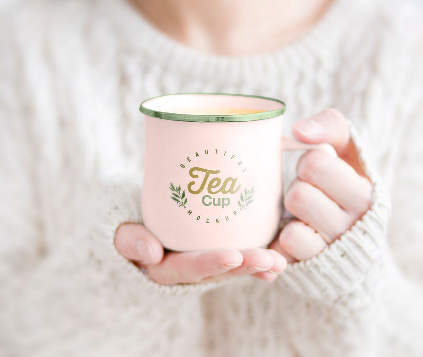 Female Holding Tea Cup Free Mockup PSD