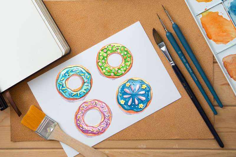 FREE Watercolor Donuts (psd, ai, eps, png)