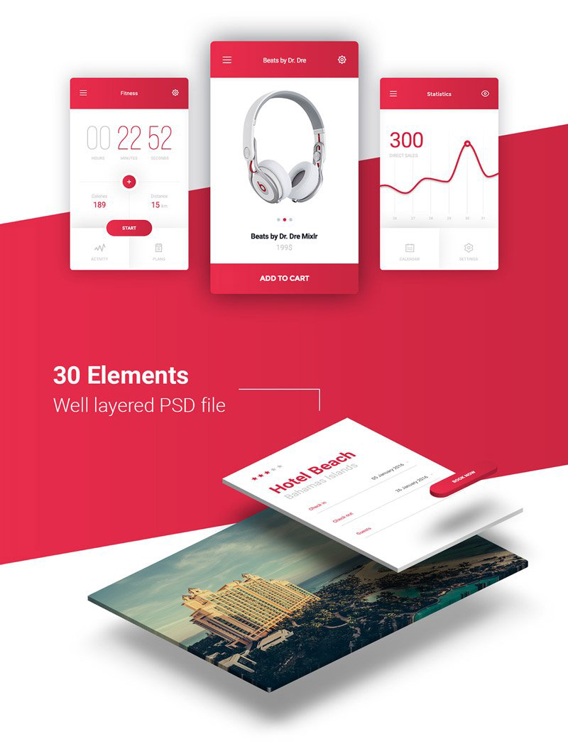 Free 30 Elements UI Kit PSD