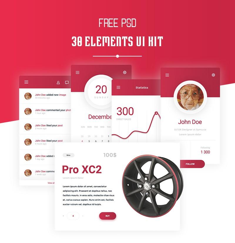 Free 30 Elements UI Kit PSD