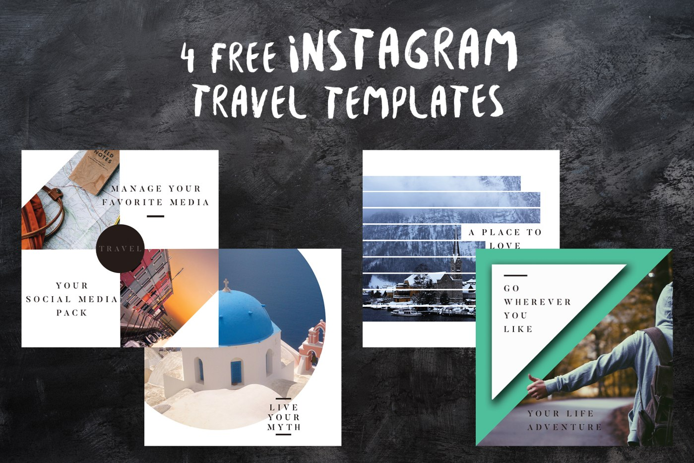 4 Free Instagram Travel Templates PSD