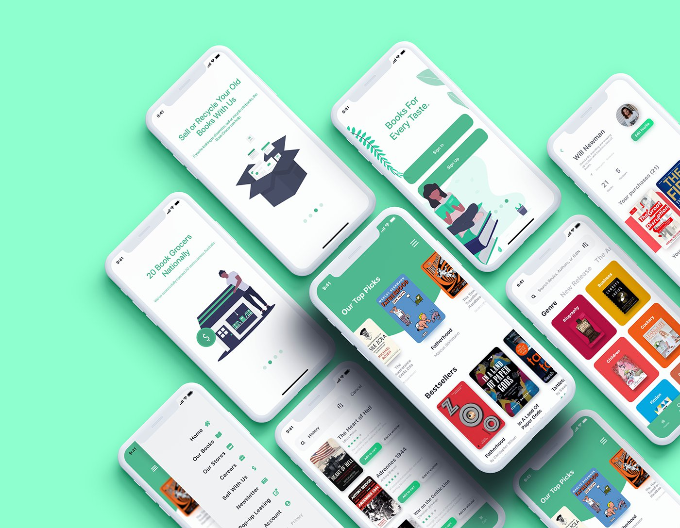 The Book Grocer App Design - Free Adobe XD UI Kit