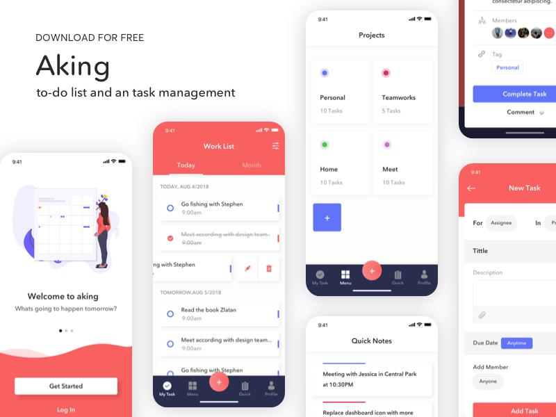 Aking to-do list app UI Kit