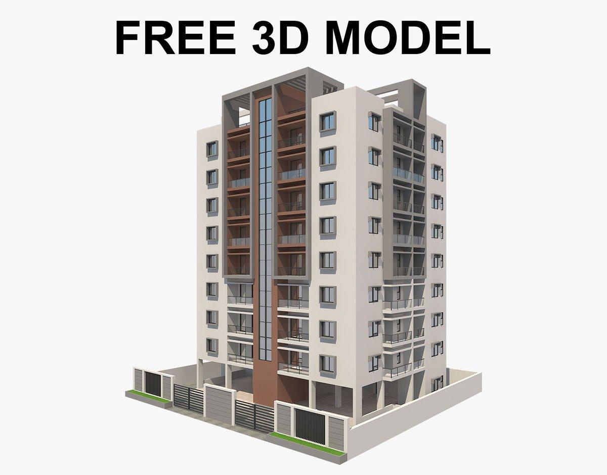 Apartment Building 3d модель многоэтажного жилого дома