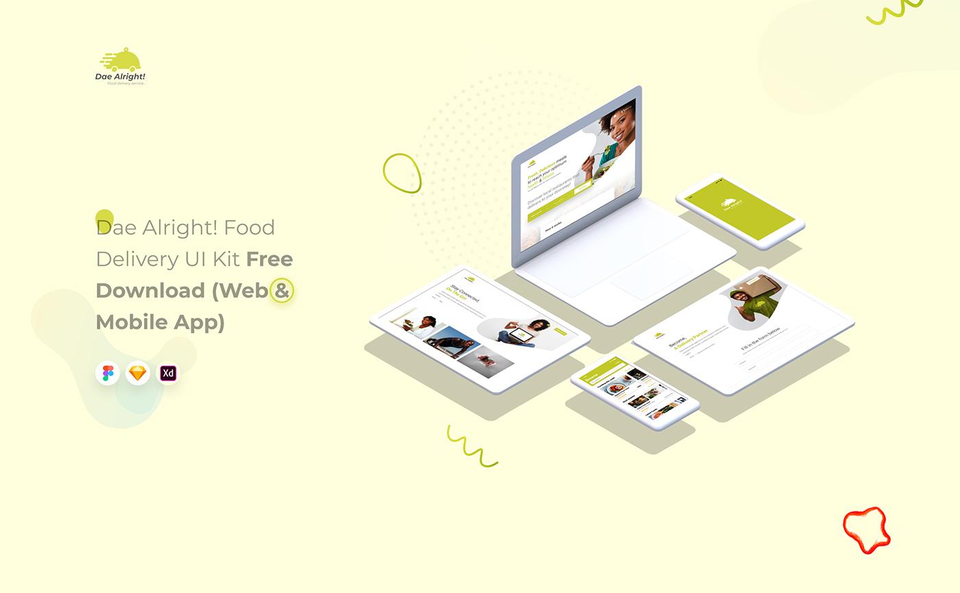 Free App Delivery App & Web UI Kit