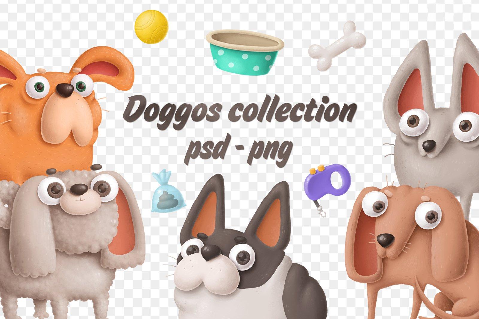 Растровый клипарт Doggos collection png с прозрачным фоном psd скачать бесплатно