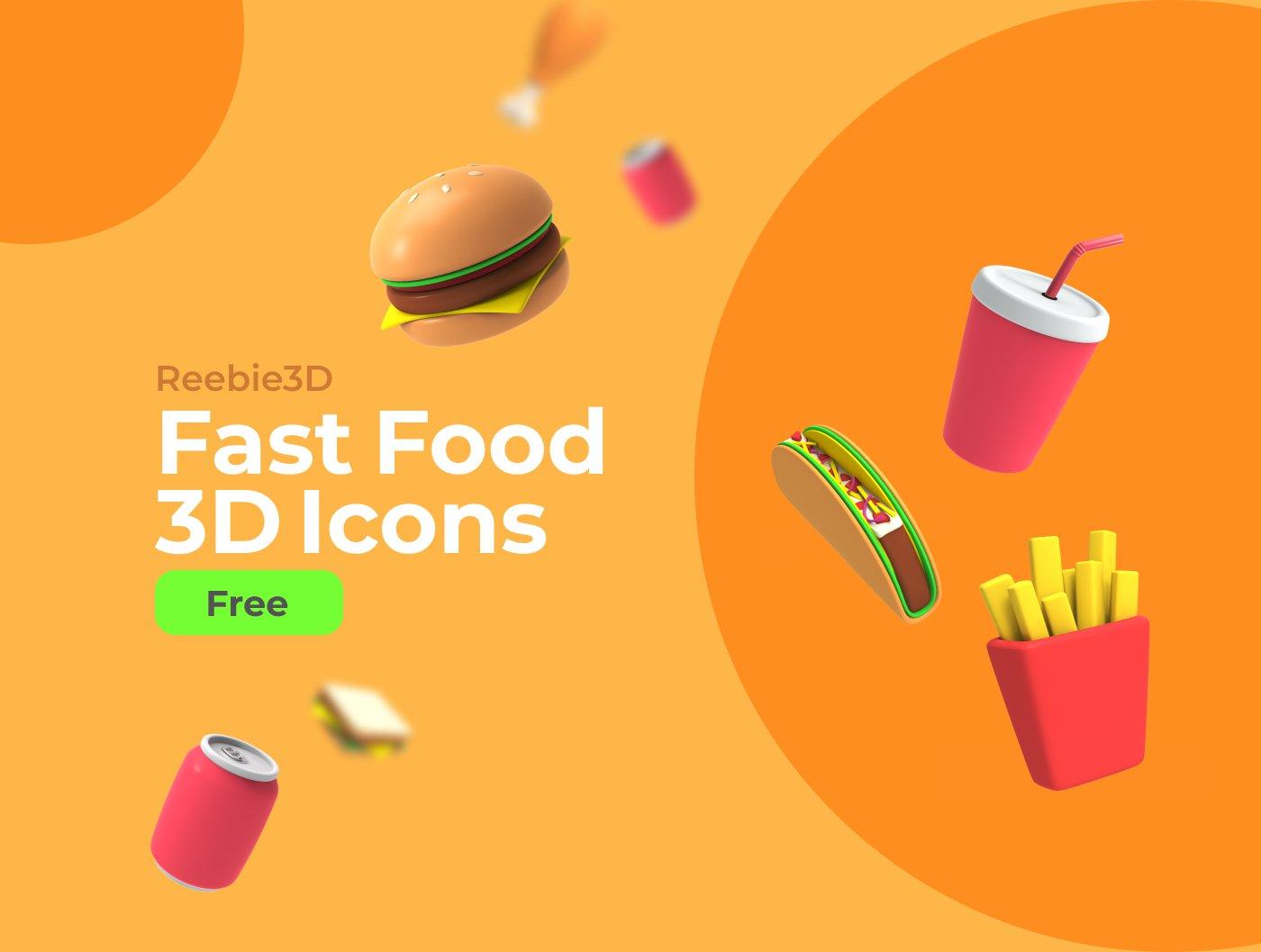 FREE Reebie3D Fast Food 3D Icons