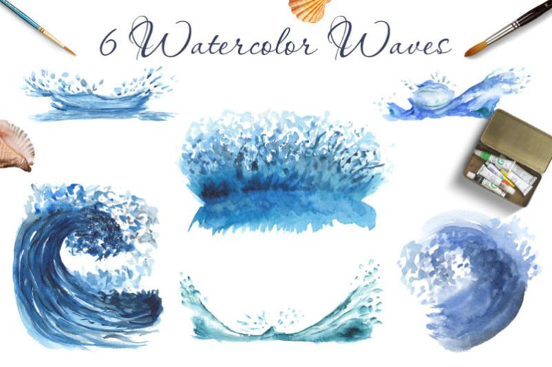 FREE Watercolor Blue Ocean Mammals
