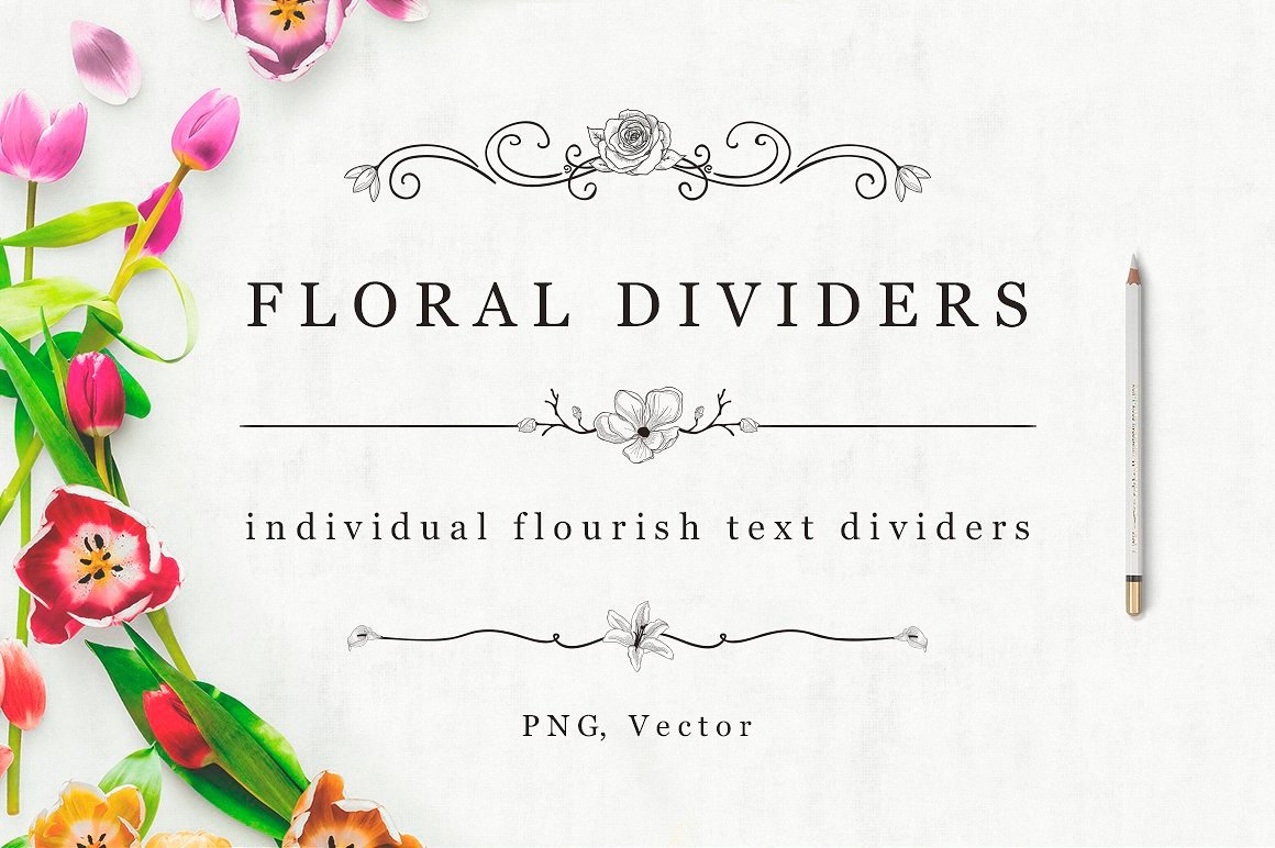FREE Flourish Text Dividers + Florals illustration