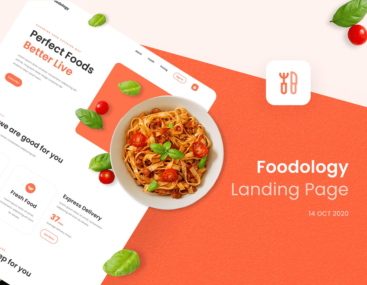 Free Foodology Website Landing Page UI Kit Figma