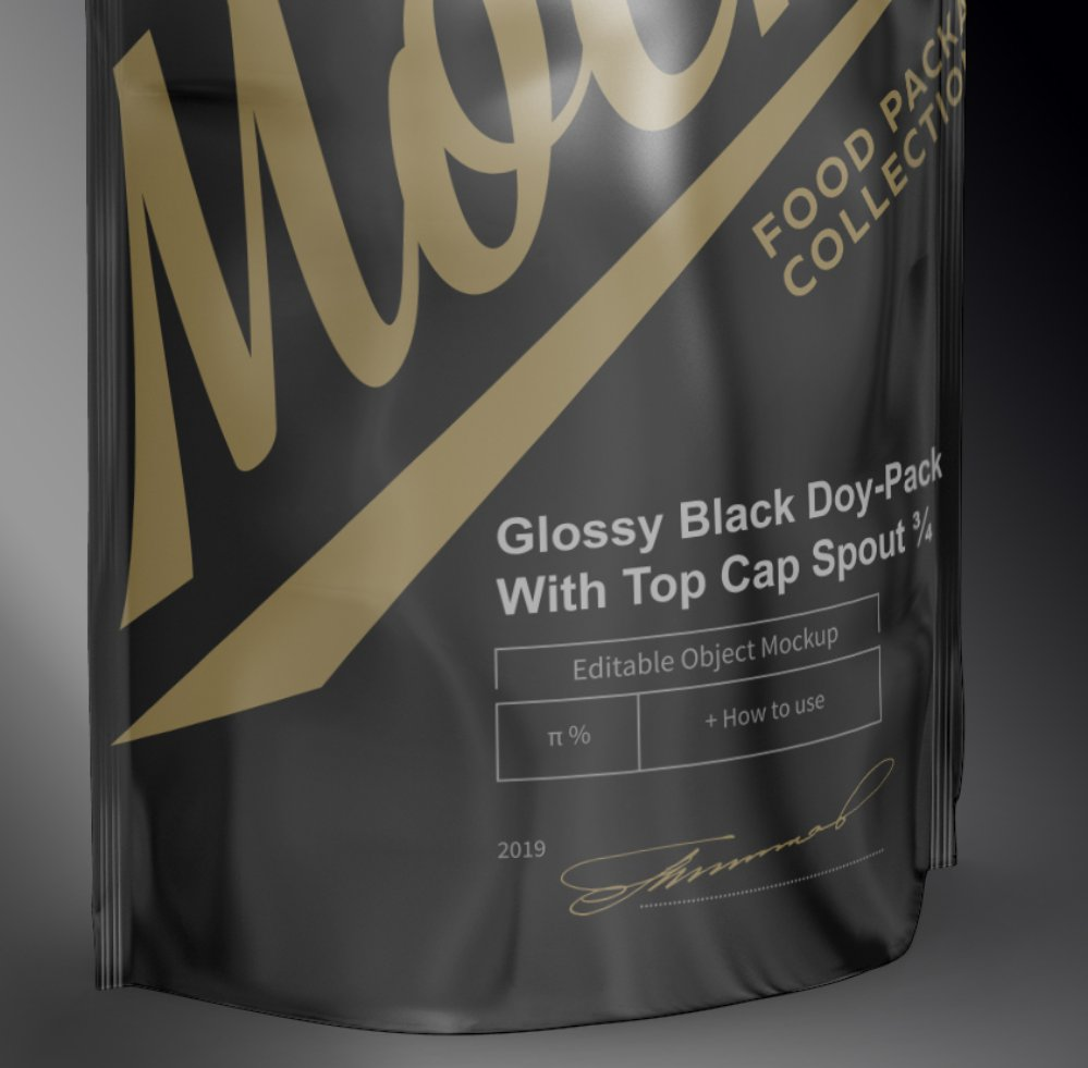 Free Mockup Glossy Black Doy-Pack With Top Cap Spout