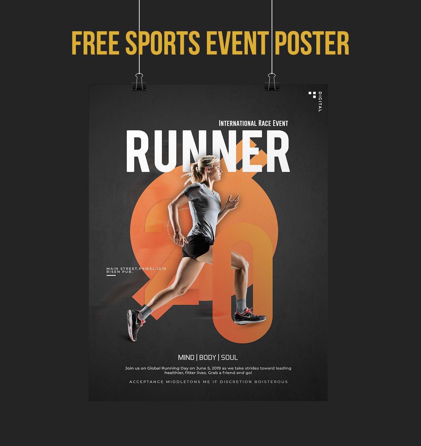 Free Sports Event Flyer PSD скачать