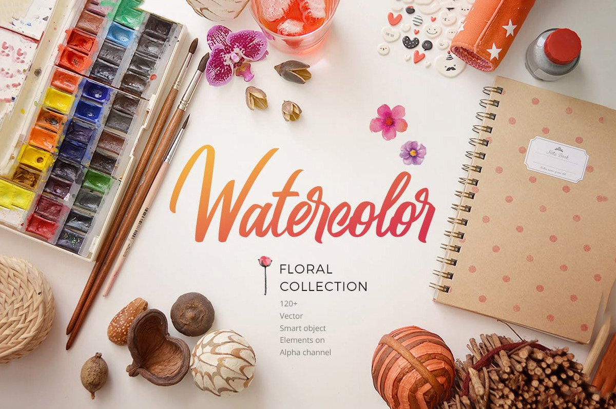 Free Watercolor Floral Collection скачать бесплатно