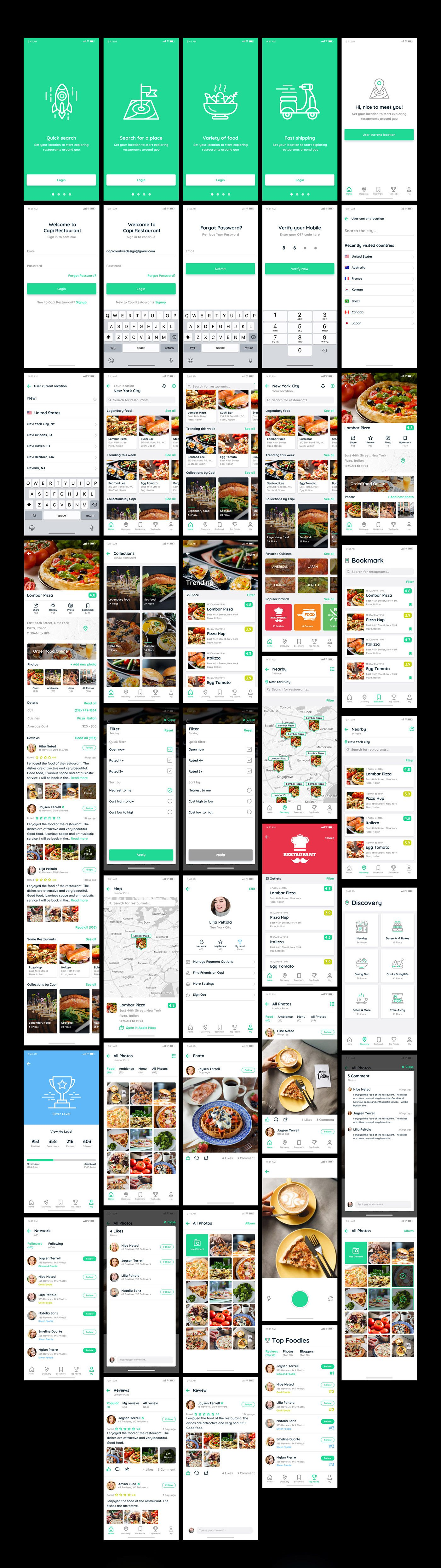 Free Capi Restaurant iOS UI Kit