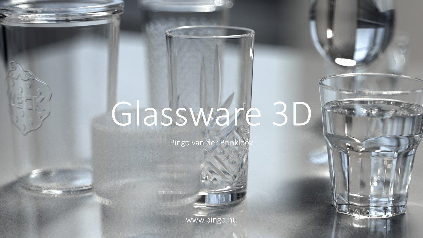 Glassware стеклянная посуда 3D free fbx скачать