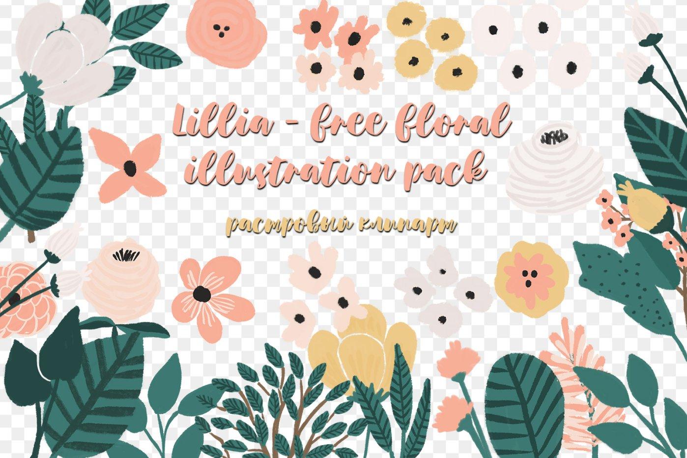 Lillia - free floral illustration pack png