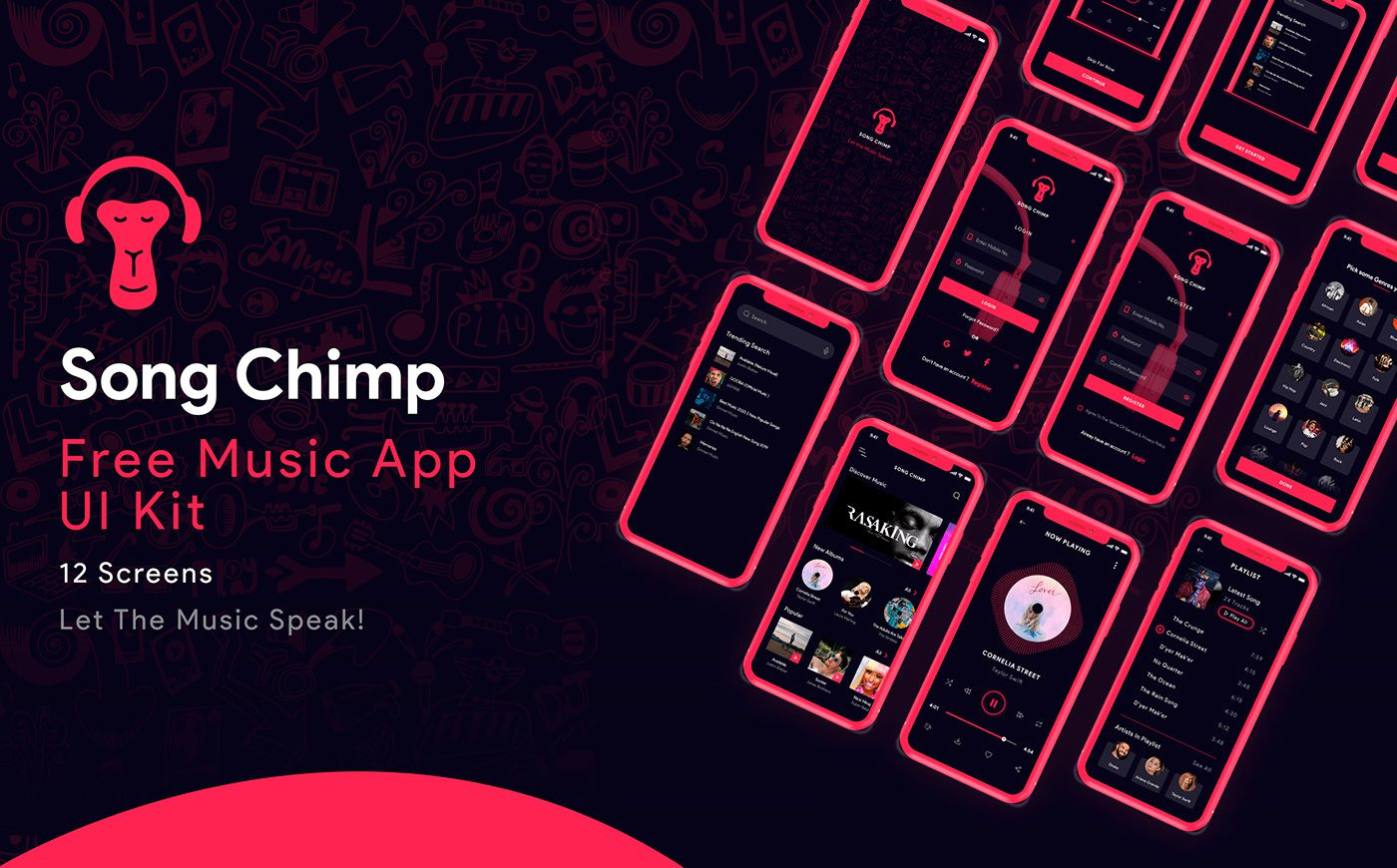 Song Chimp Music App Adobe XD