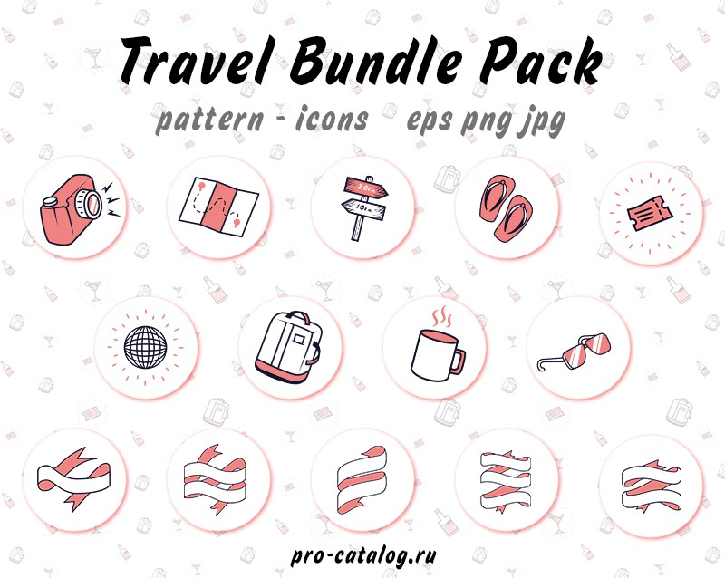 FREE Travel Bundle Pack pattern icons eps png jpg