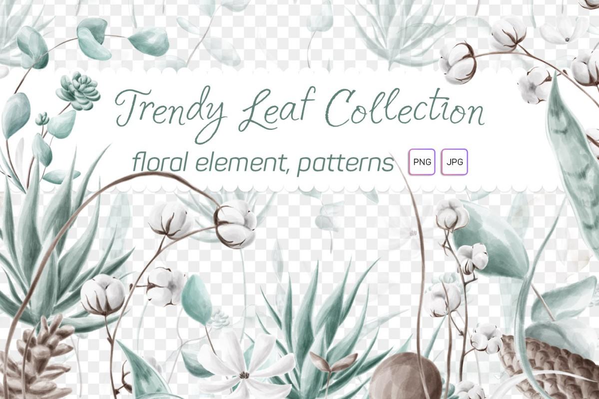 Растровый клипарт Trendy Leaf Collection