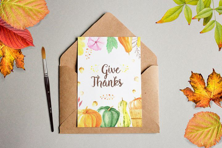 Watercolor Thanks Giving Set