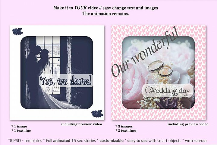Animated Instagram templates Mockup, Wedding, inc. custom PSD