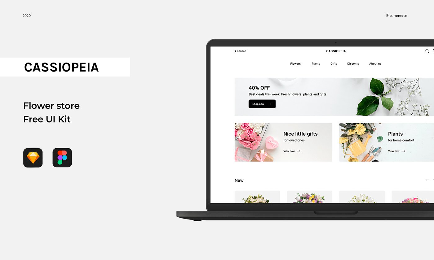 Free UI kit Cassiopeia Flower Store