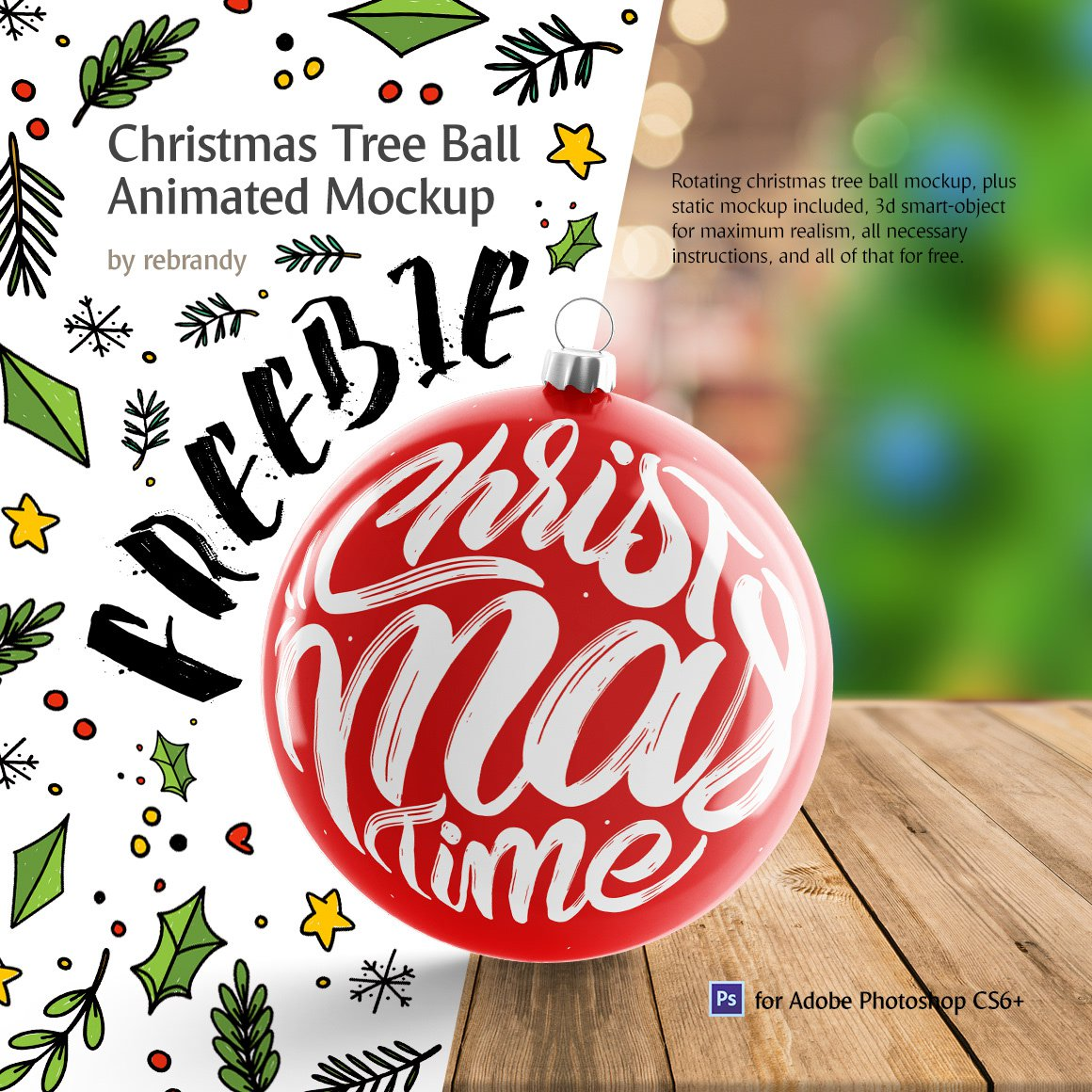 Christmas Tree Ball Animated Mockup PSD
