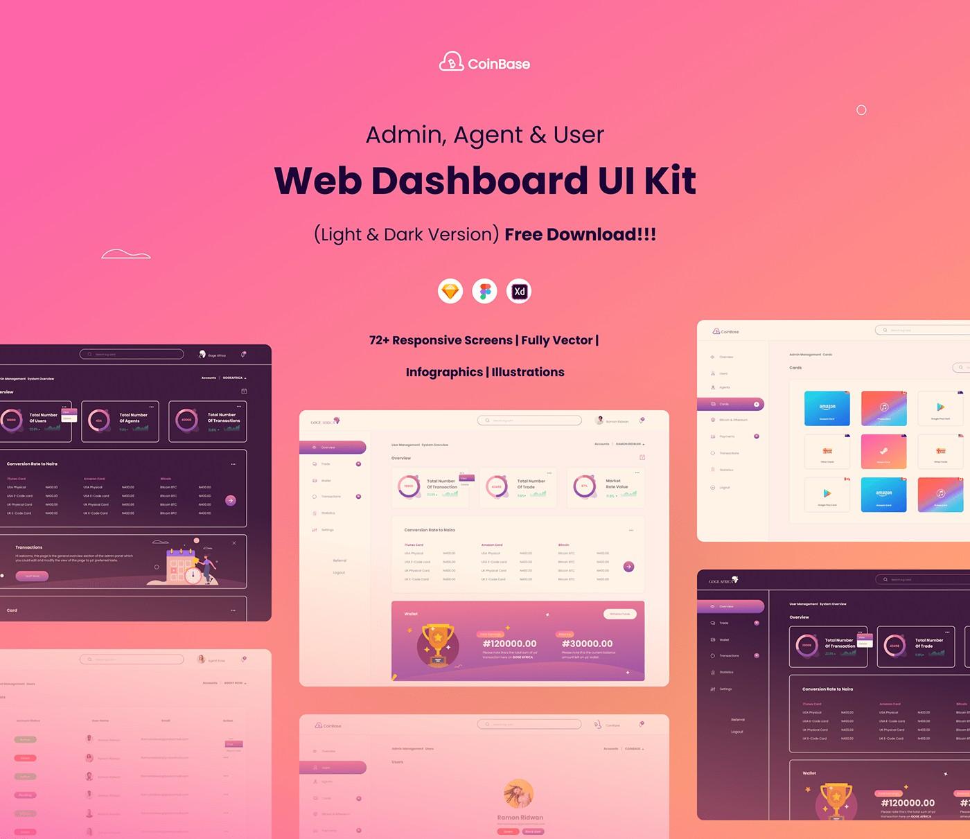Free Ui Kit CoinBase Web Dashboard