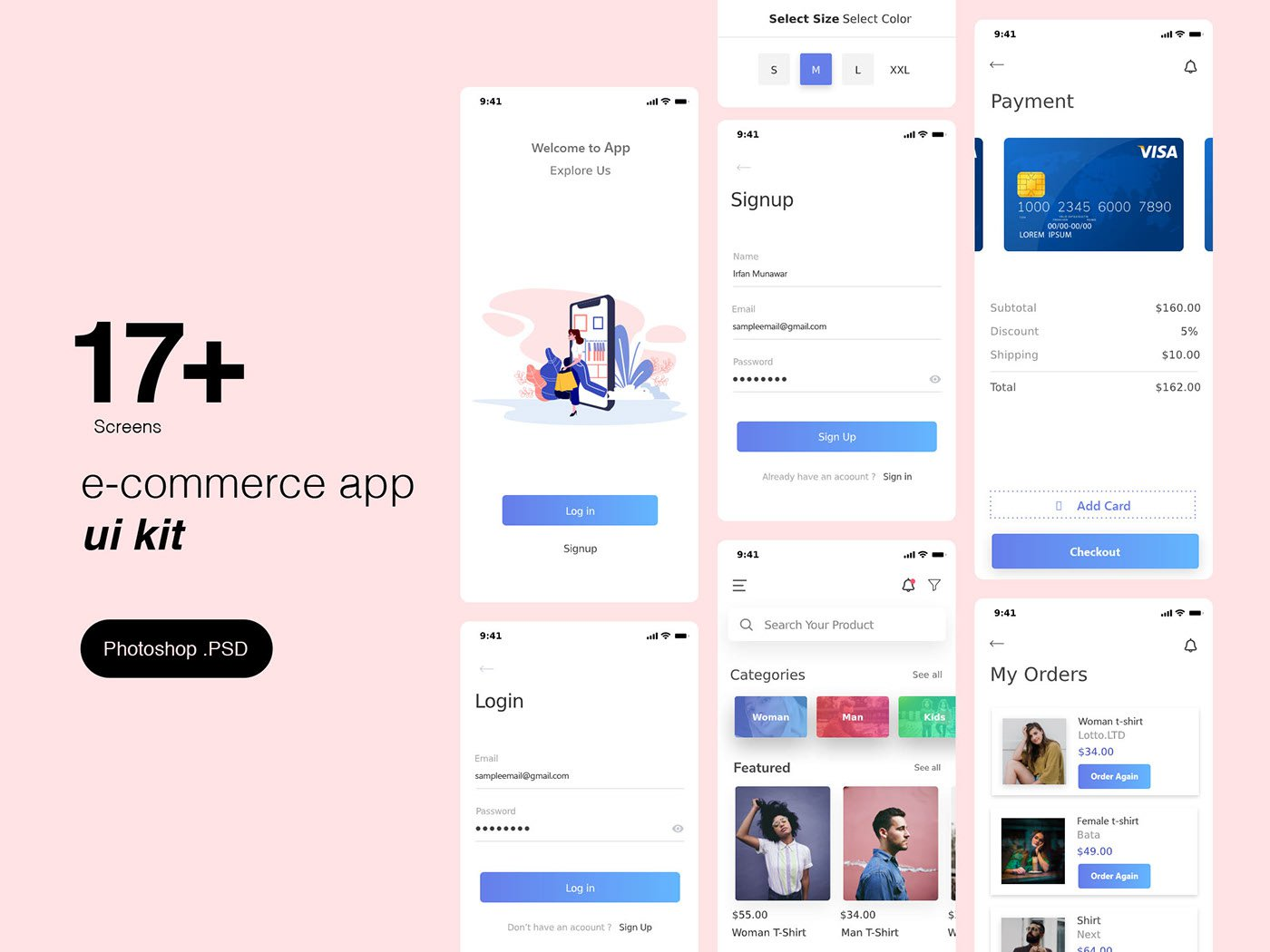 E-commerce App Ui Kit Template PSD