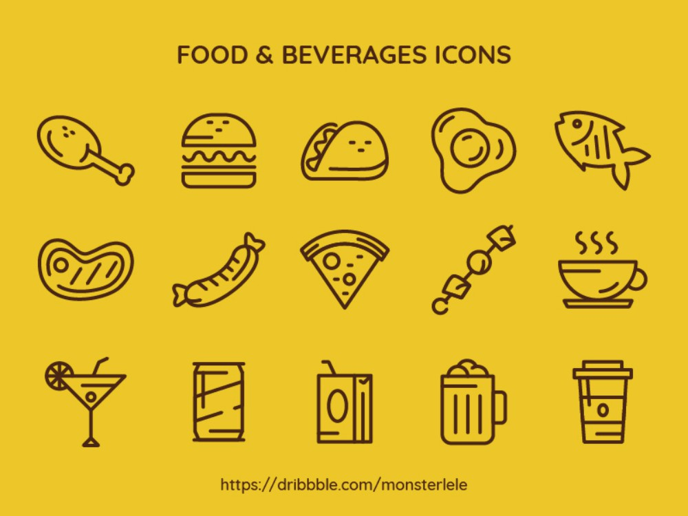 FREE Food & Beverages Icon Set
