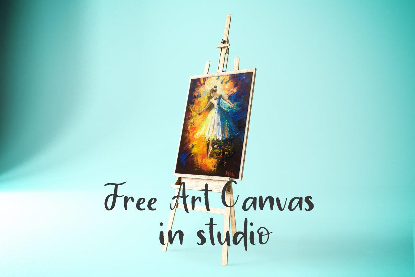 Free Art Canvas in studio Mockup PSD