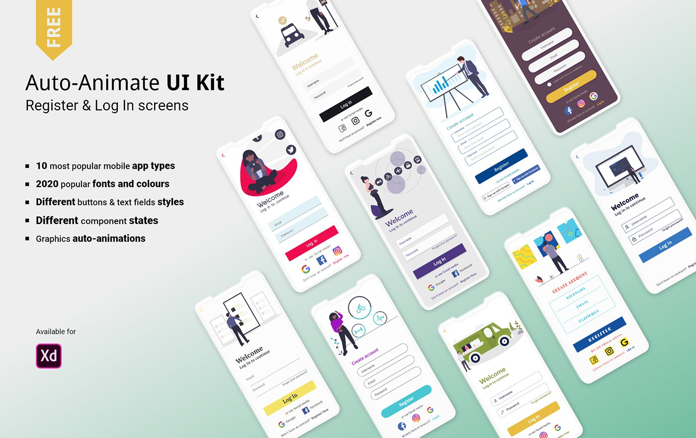 Free Auto-Animate Register & Login UI Kit for Adobe XD