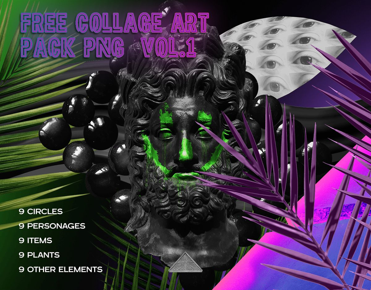 Free Collage art pack PNG vol.1