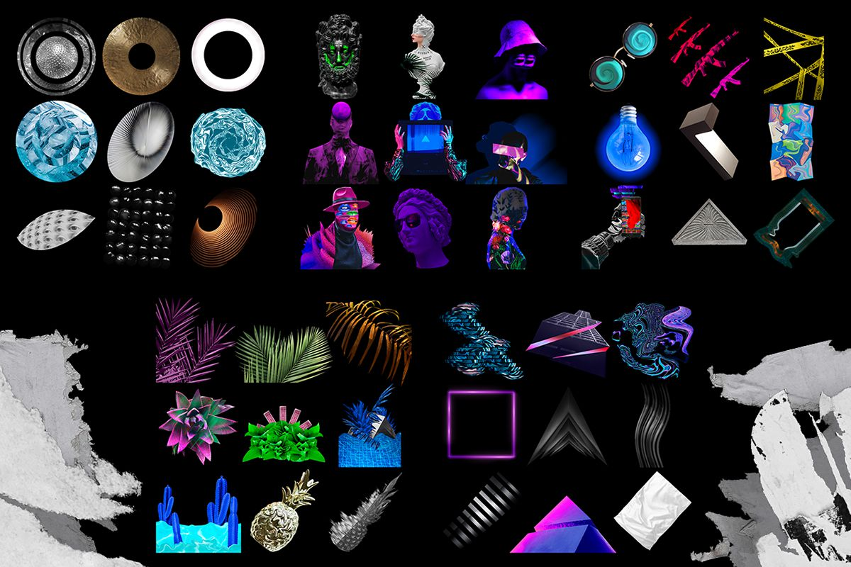 Free Collage art pack PNG  vol1