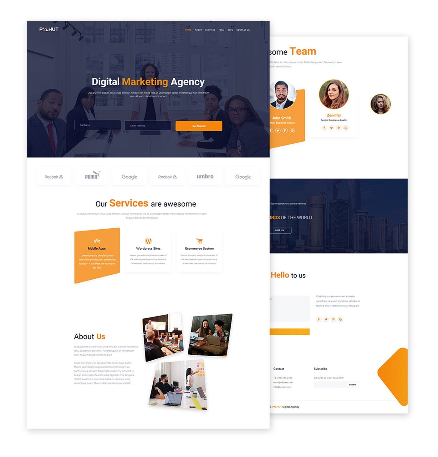 Free Digital Agency Website Template PSD