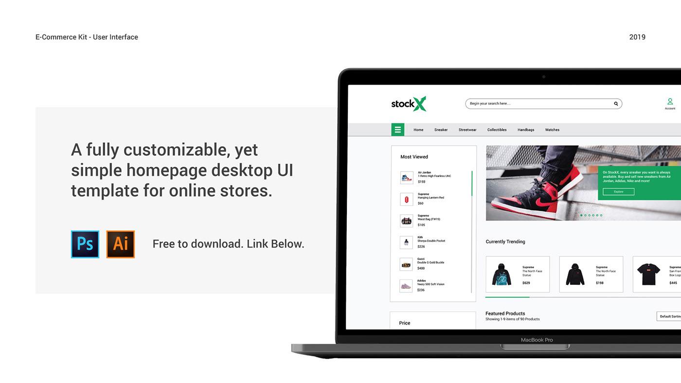 Free E-Commerce UI Kit Ai PSD