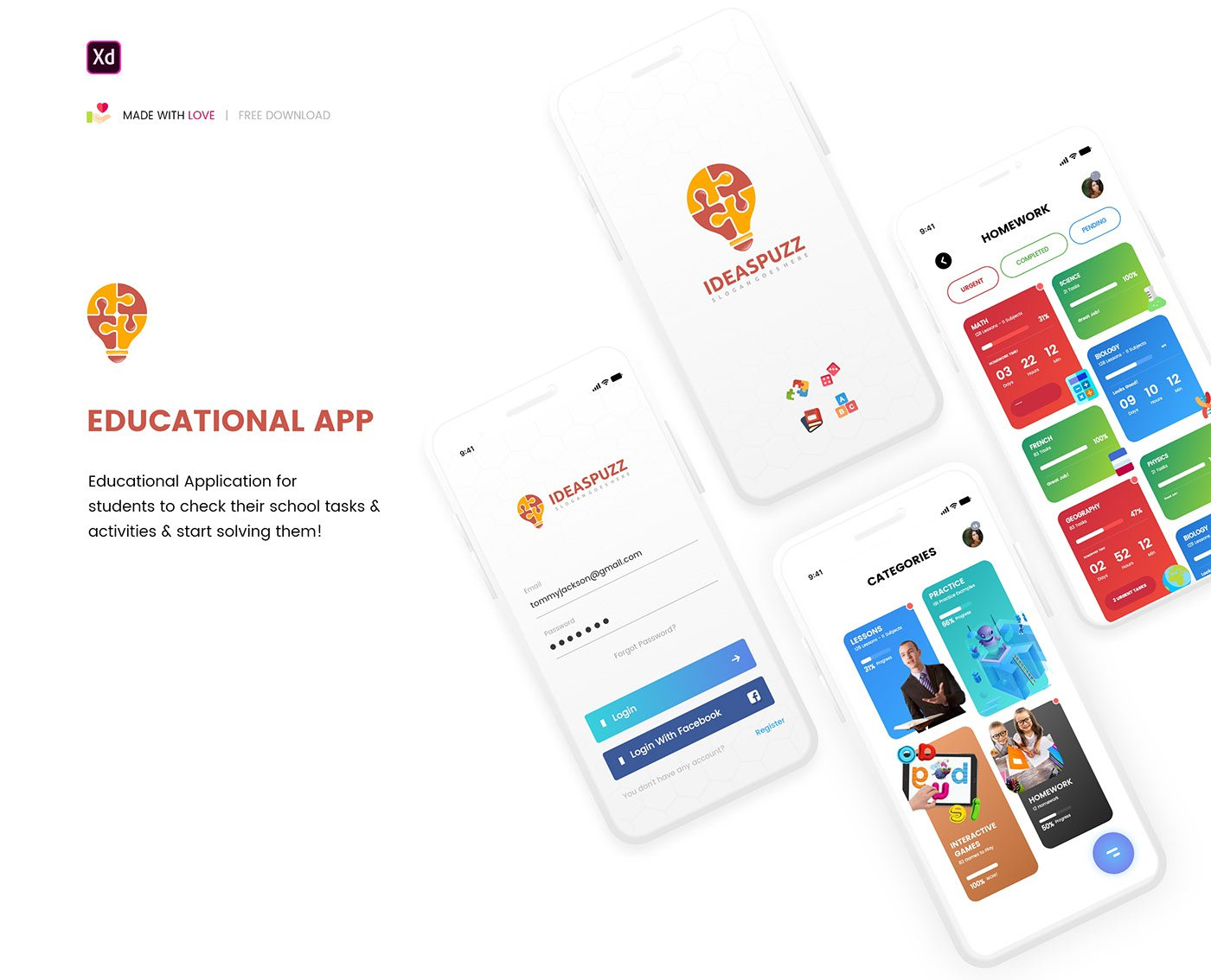 Free Educational App Design Adobe XD