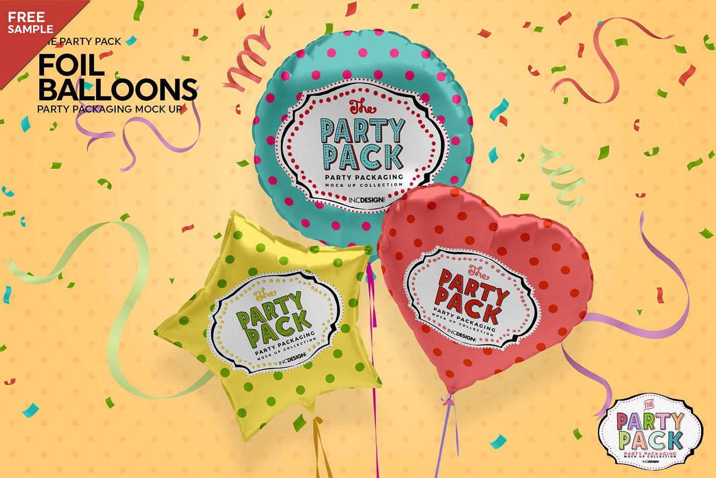 Free Foil Balloons Mockup