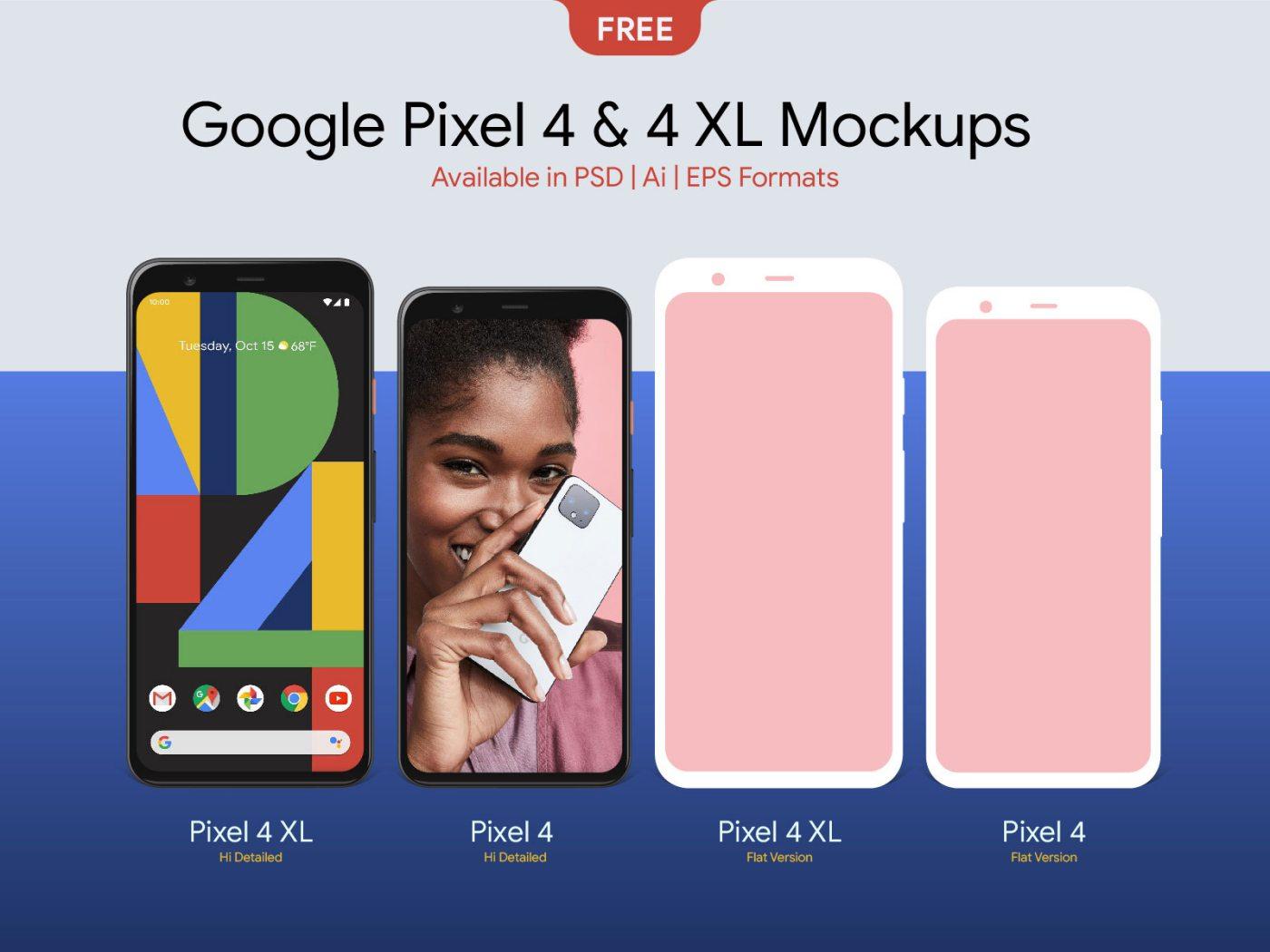 Free Google Pixel 4 & 4 XL Mockup PSD, Ai & EPS