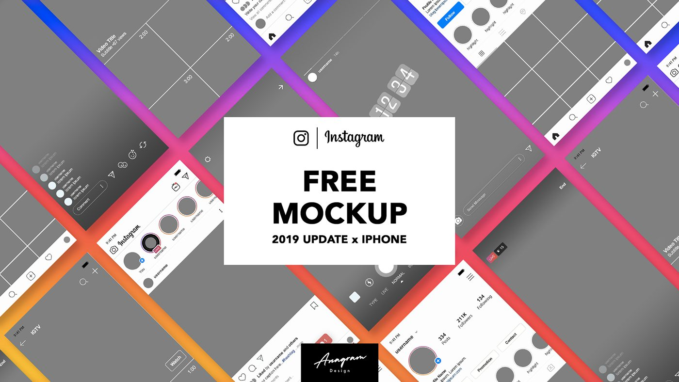 Free Instagram Mockup 2019 Iphone PSD