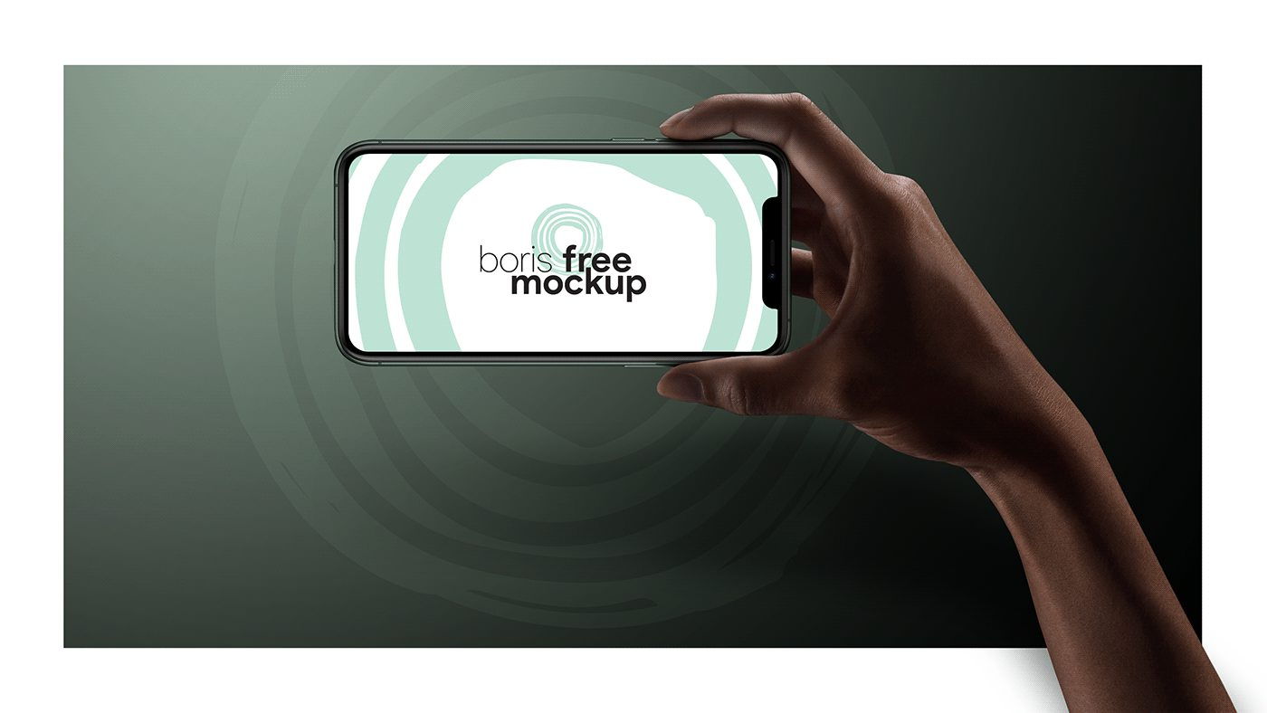 Free PSD iPhone mockup Pro 11 Max in hand