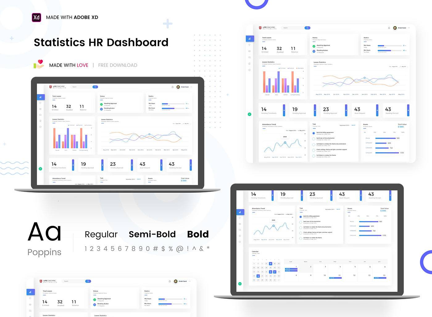Free Source HR Statistics Dashboard Ui Kit Adobe XD
