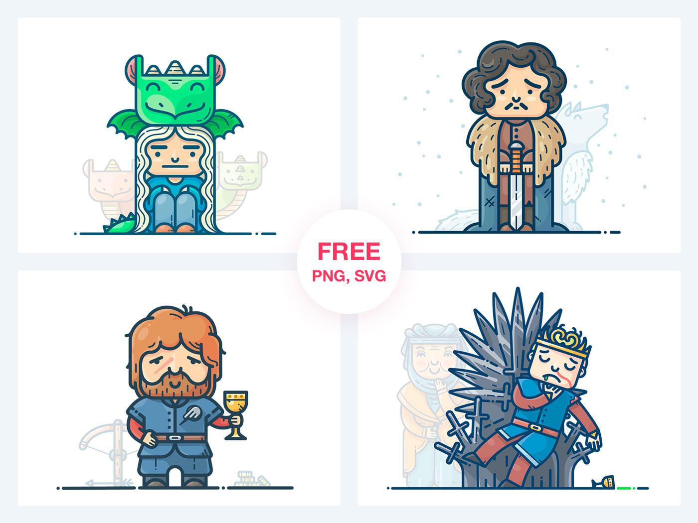Game of Thrones 4 Characters Illustrations Игра Престолов svg png скачать бесплатно