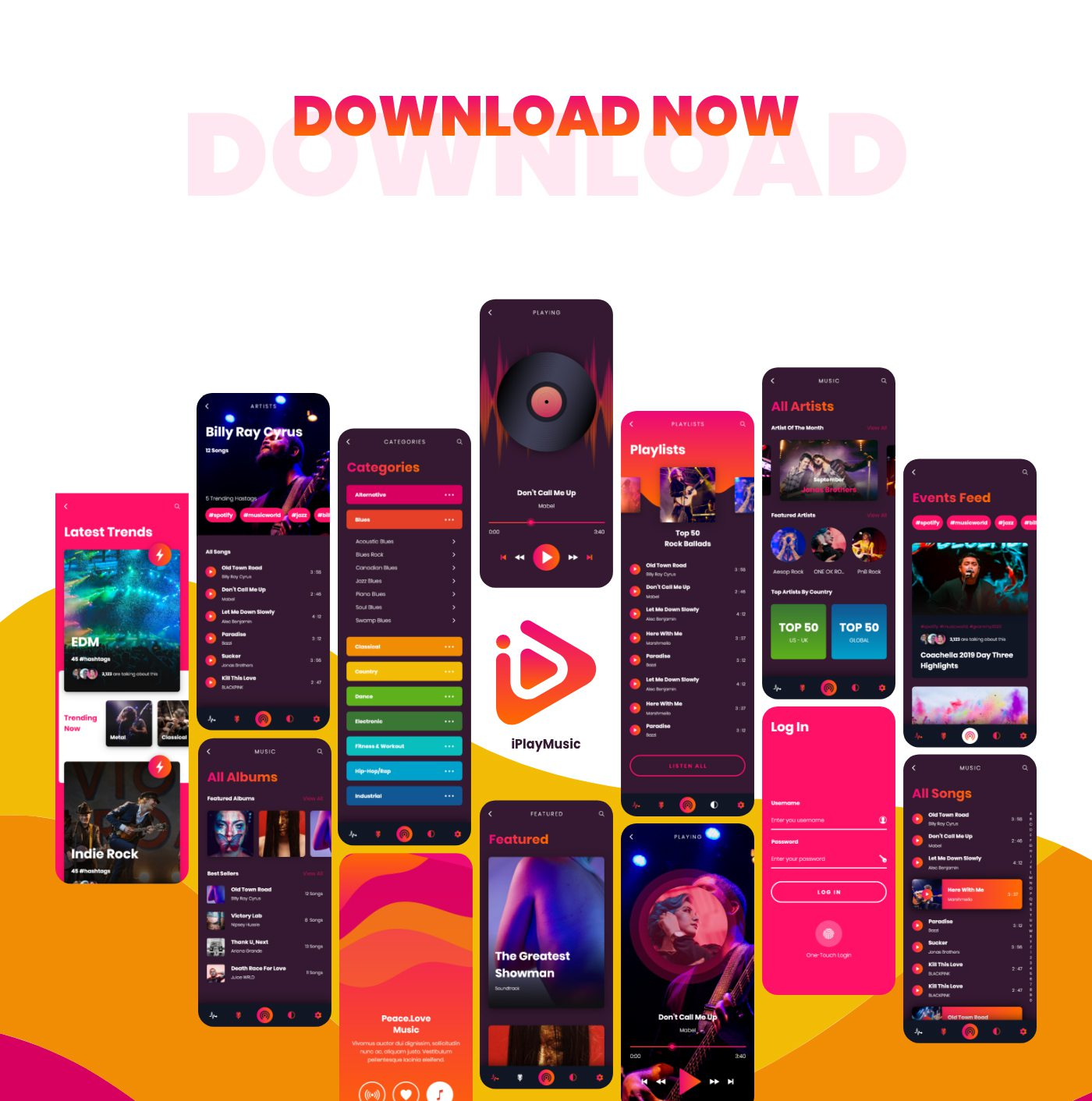 iPlayMusic - A Free Awesome Music App UI XD