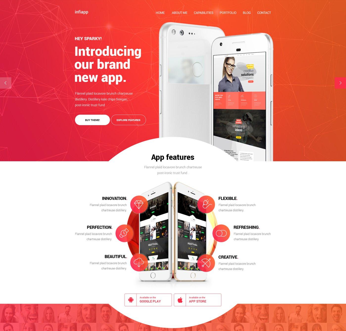 Free App Landing Page Infinito PSD