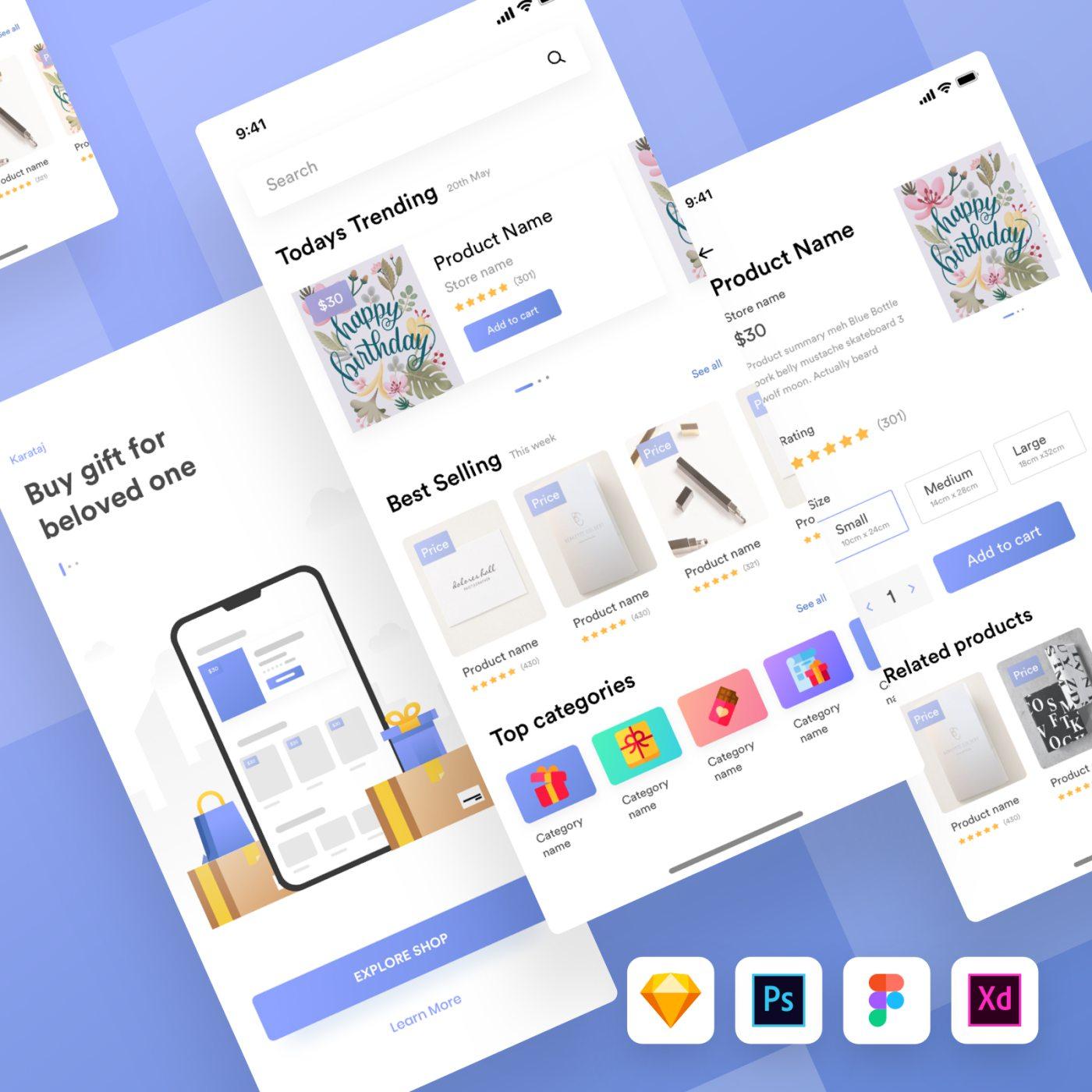 Kamartaj gift shop UI kit (Psd + Sketch + Fig + Xd)