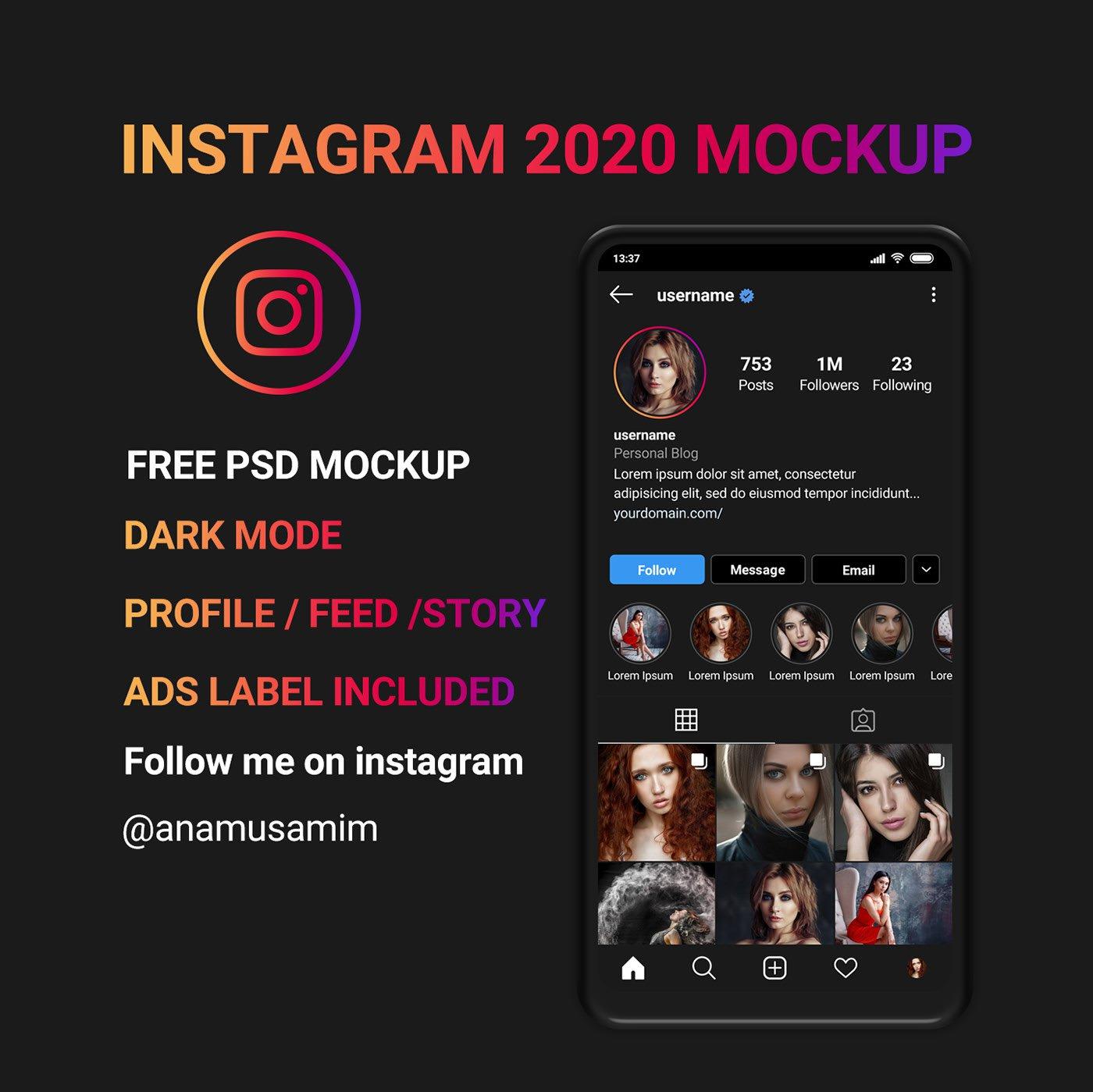 Free Instagram mockup 2020 dark PSD