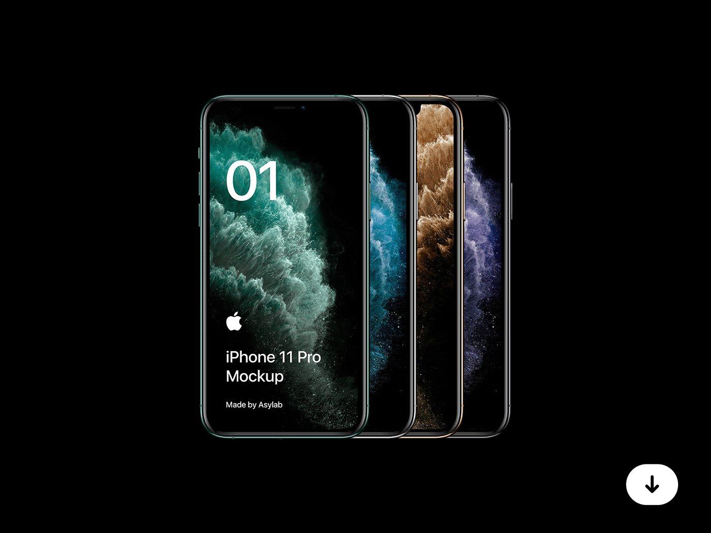 Free iPhone 11 Pro Mockup PSD