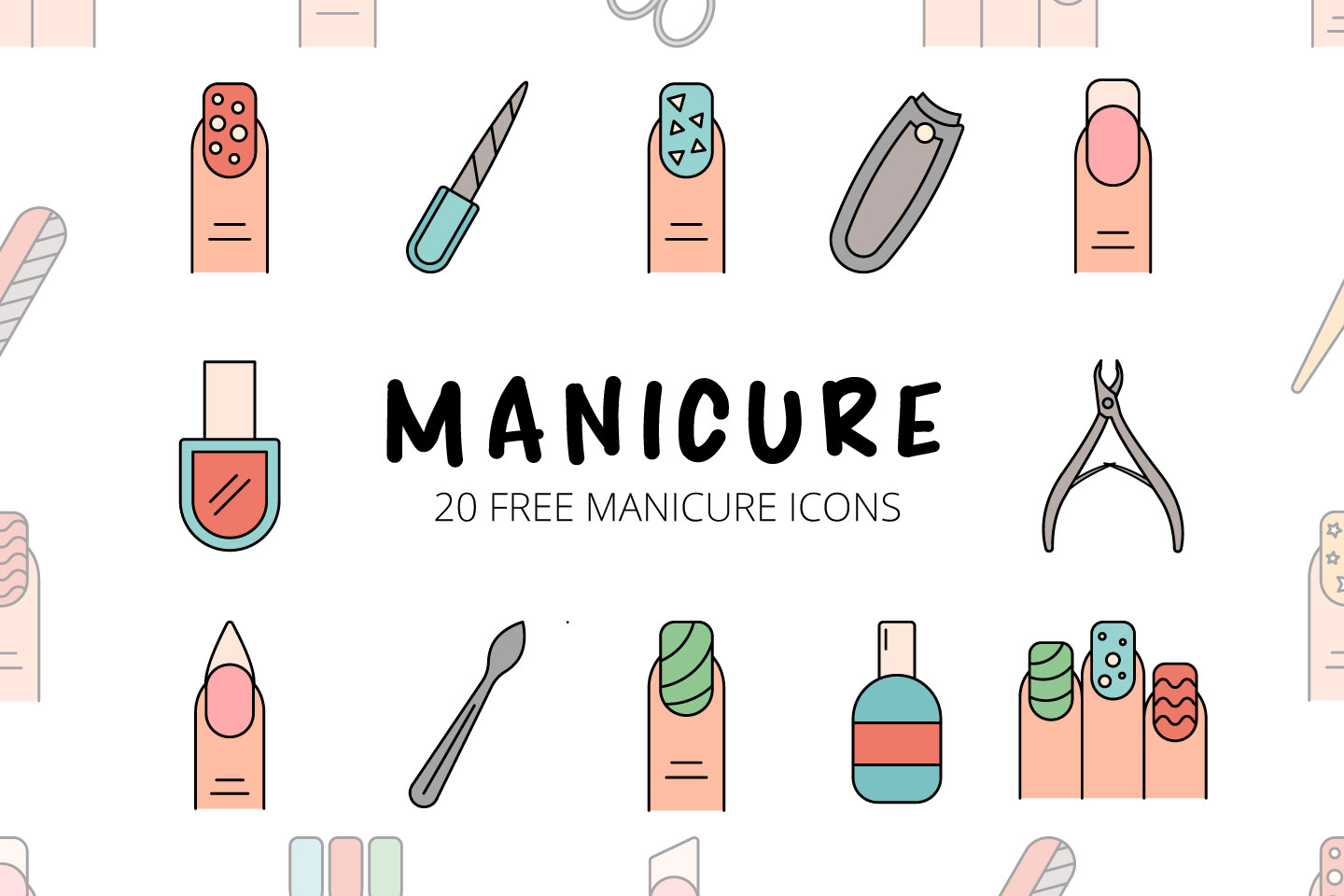 Manicure Vector Free Icon Set скачать